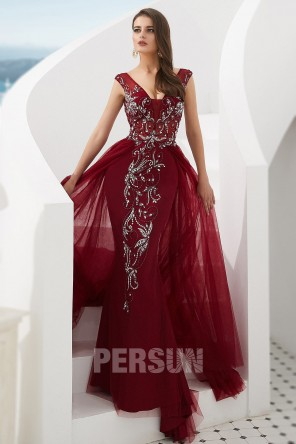 Gorgeous Beaded Burgundy Mermaid Prom Dress in Tulle