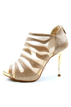 Sandales cuir dorées à talons aiguilles