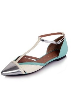 T-Strap Color Block Pointed Toe Flats