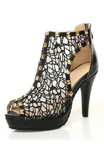 Sandales cuir noires dentelle bout ouvert talons aiguilles