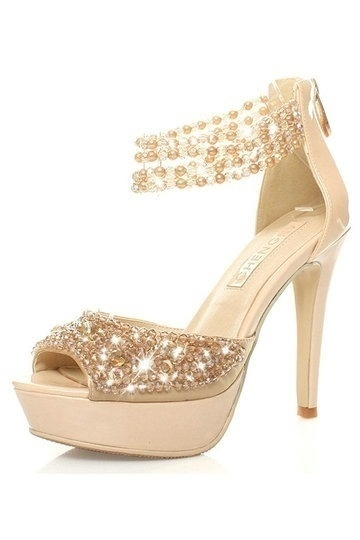 Rhinestone Golden Heels