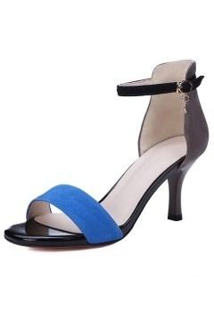 Sandales à talons nu pieds en suède bloc couleur bleu