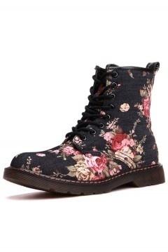 Bottines noire fleuries plates à lacets