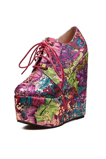 Flowers Print Lace Up Platfrom Boot