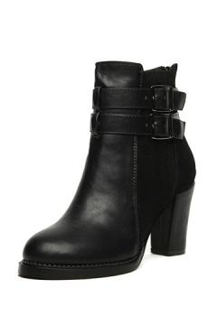 Boots noirs à talons plateformes cingulum