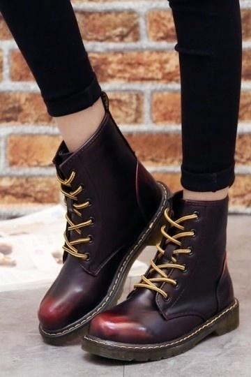 Chic Leder Schnürung Martin Boots Persun