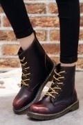Chic Leder Schnürung Martin Boots