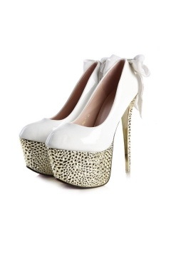 White Bowknot High Heels with Rhinestones