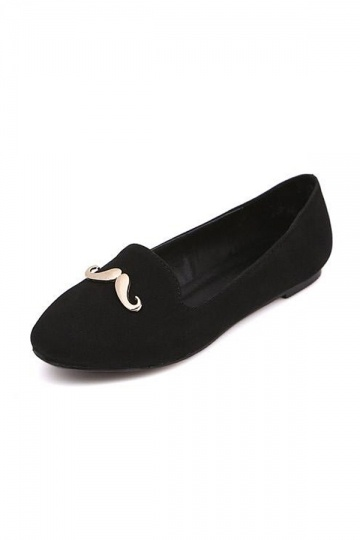 Cute Black Beard Round Toe Loafers