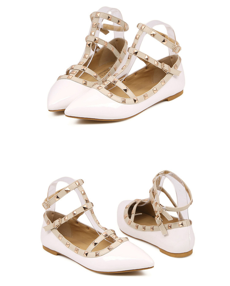 Persunmall White Ankle Strap Flats with Studs