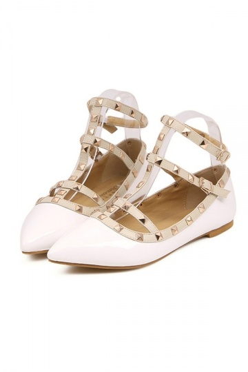 White Ankle Strap Flats with Studs