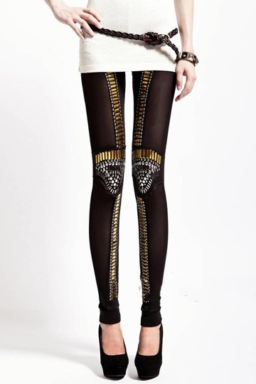 Punk Retro Style Metal Rivet Details Leggings