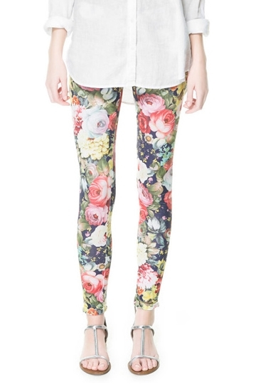 Vintage Elegant Flower Print Legging