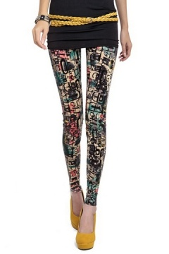 Graffiti Letters Print Leggings