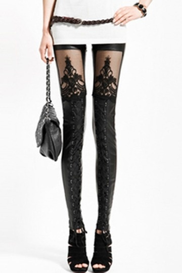 Punk Style Leather Stitching Lace Sexy Leggings