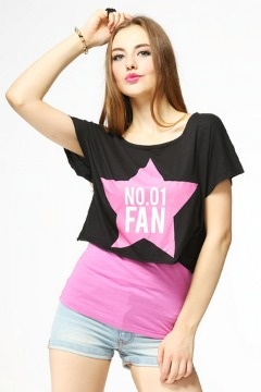 Pink Star Short Cotton T-shirt