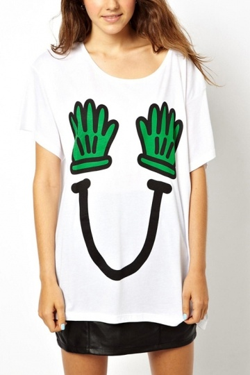 Loose Style T-shirt with Palm Print