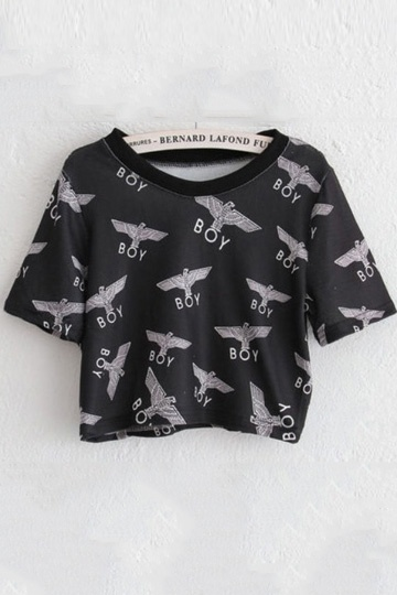 Boy Eagle Print Short T-shirt in Black