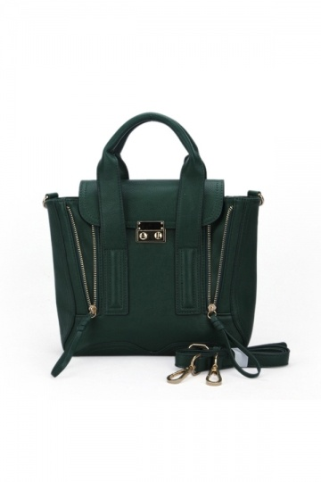 Mini Type Double Zipper Handbag in Green