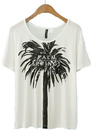 Coconut Palm Print Loose T-shirt
