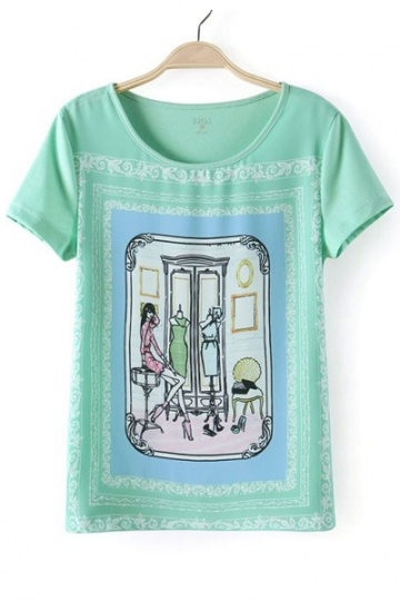 Girl & Mirror Print T-shirt in Light Green
