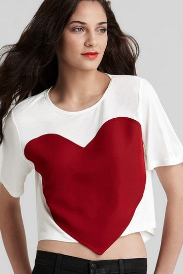 Red Heart Round Neck T-shirt
