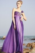 One Shoulder Purple Tencel Evening Dress