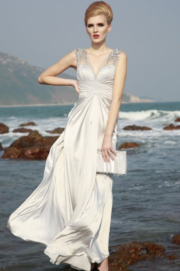 V-neck Gems Column Floor-length Silk Evening Dress