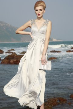 Chic V-neck Long Sheath Silk Evening Dress