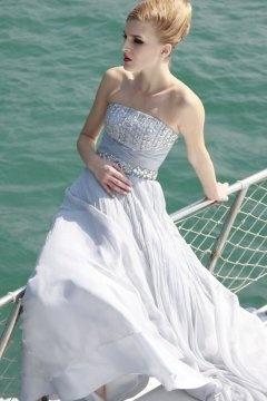 Strapless Rhinestone High Waist Evening Dress
