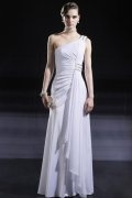 Sheath One Shoulder Gathered Pleat White Evening Dress