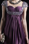 Sweetheart Cap Sleeves Floor length Purple Evening Dress