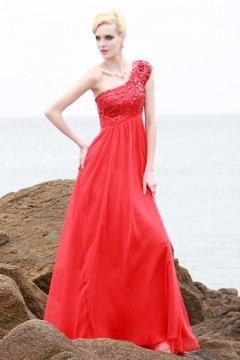Bawtry One Shoulder Red Empire UK Prom Dress in Full length