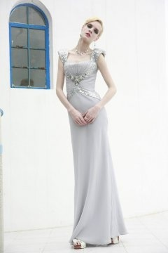 Sequins Cap Sleeves Sheath Floor Length Prom Dress In Stock