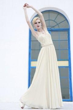 U neck Spaghetti Weave Bodice Long Prom Dress