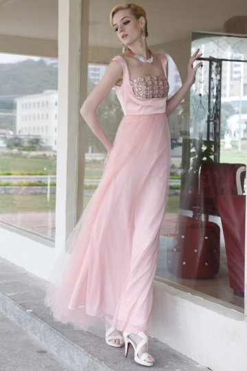 Dressesmall Gorgeous Diamond Square Organza Floor Length Sheath Evening Dress