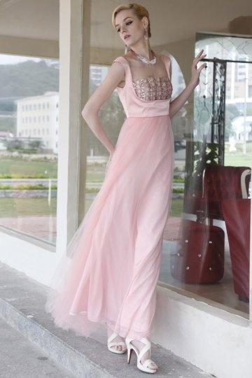 Carré Ausschnitt Empire Diamant rosa Ballkleid / Abendkleid Persunshop