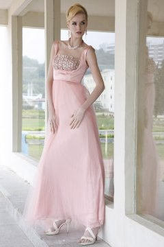 Organza Square Diamonded Bodice Floor Length Pink Prom Dress