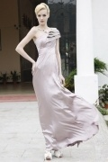 Beading One Shoulder Imitated Silk Sheath Formal Evening Dress