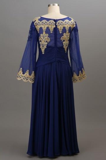 Gunstig Dunkel Blau Vintage Applique Abendkleid Mit Langem Armel Fur Mollige Online Verkauf Persun