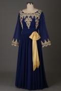 Dunkel blau vintage Applique Abendkleid mit langem Ärmel für Mollige