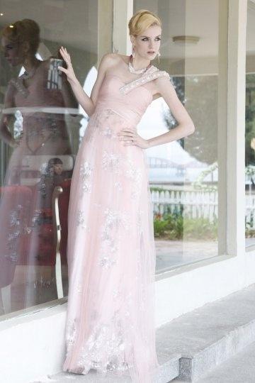 Vestido de Noche/Fiesta de baile Largo con Solo Hombro Abalorio Corte Recto Rosa