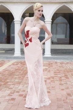 One Shoulder Floor length Nude Evening Dress In Stock