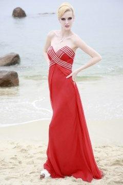 Robe de bal/de soirée moulante ornée de strass Col V bustier en Tencel rouge