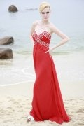 Sheath V neck Strapless Beaded Red Tencel Prom / Evening Dress