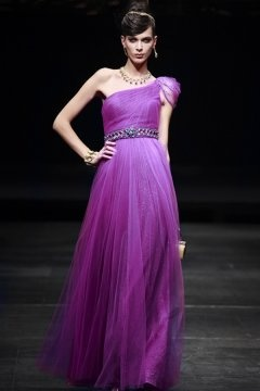 Basingstoke One Shoulder Purple Evening Dress