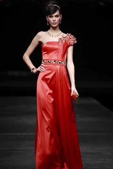 Vestido de Noche/Fiesta de baile con Solo Hombro Abalorio Plisado Corte Recto Rojo