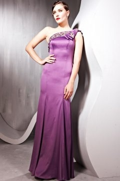 Billericay Silk One Shoulder Mermaid Floor length Purple Evening Gown