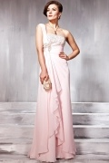 Robe de soirée empire rose asymétrique avec détails cascade en Mousseline