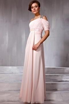 One Shoulder Empire Floor Length Pink Evening Dress In Stock